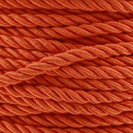 Satiny twisted Cord 5mm - orange x 1m