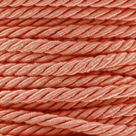 Satiny twisted Cord 5mm - coral x 1m
