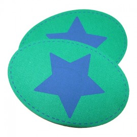 Canvas elbow and knee patch with an electric-blue star - meadow green