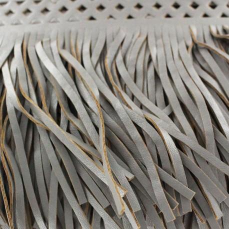 Fauw leaher fringe Apache - grey x 50cm