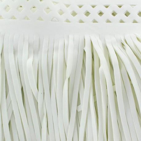 Fauw leaher fringe Apache - white x 50cm