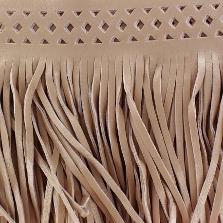 Fauw leaher fringe Apache - beige x 50cm
