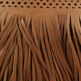 Faux leather fringe Apache - camel x 50cm
