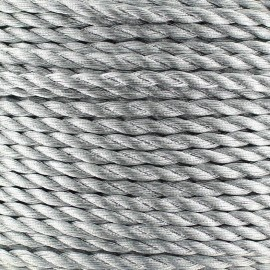 Cordon torsadé métallisé 2 mm argenté x 1m