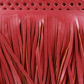 Faux leather  fringe Apache - red x 50cm