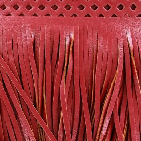 Frange simili cuir Apache rouge x 50cm