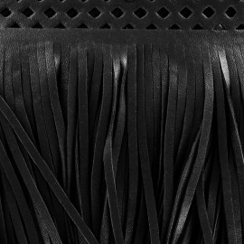 Faux leather  fringe Apache - black x 50cm