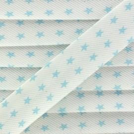Biais fantaisie Piqué de coton Etoiles ciel/blanc x 1m