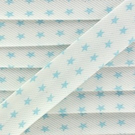 Cotton Stitched Bias binding, Fantasy Stars - sky blue/white