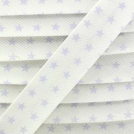 Biais fantaisie Piqué de coton Etoiles Mauve/blanc x 1m