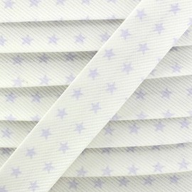 Cotton Stitched Bias binding, Fantasy Stars - Mauve/white