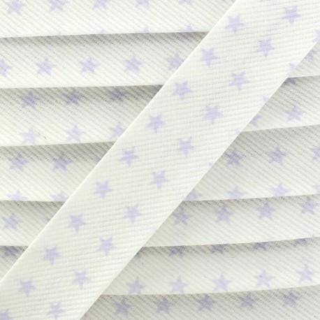 Cotton Stitched Bias binding, Fantasy Stars - Mauve/white