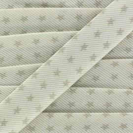 Biais fantaisie Piqué de coton Etoiles taupe/blanc x 1m