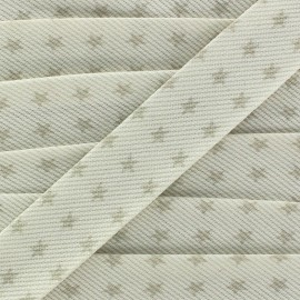 Cotton Stitched Bias binding, Fantasy Stars - mole/white