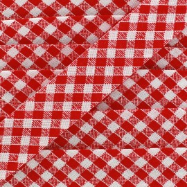 Biais Vichy rouge 18 mm