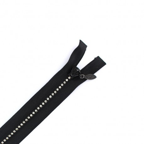Strass zipper  - black