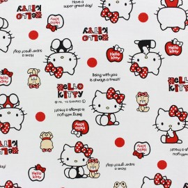 Tissu toile coton Hello Kitty Bear Dot blanc x 20cm
