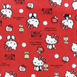 Tissu toile coton Hello Kitty Bear Dot rouge x 20cm