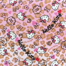 Tissu toile coton Hello Kitty Heart Leopard rose x 20cm