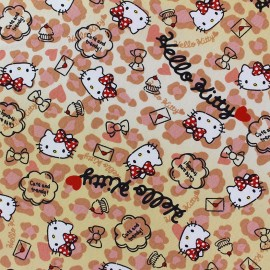 ♥ Coupon 90 cm X 110 cm ♥ Tissu toile coton Hello Kitty Heart Leopard beige