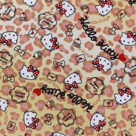Tissu toile coton Hello Kitty Heart Leopard beige x 20cm