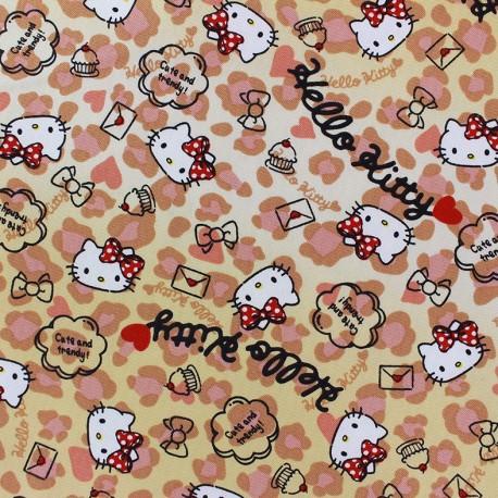 Tissu toile coton Hello Kitty Heart Leopard beige