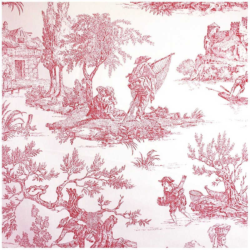 tissu toile de jouy paysanne rose x 55cm ma petite mercerie. Black Bedroom Furniture Sets. Home Design Ideas
