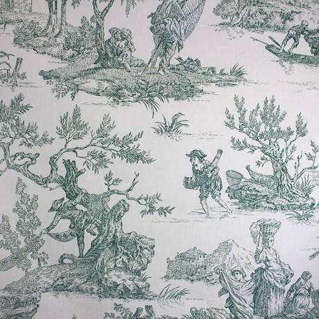 tissu toile de jouy paysanne vert x 64cm ma petite mercerie. Black Bedroom Furniture Sets. Home Design Ideas