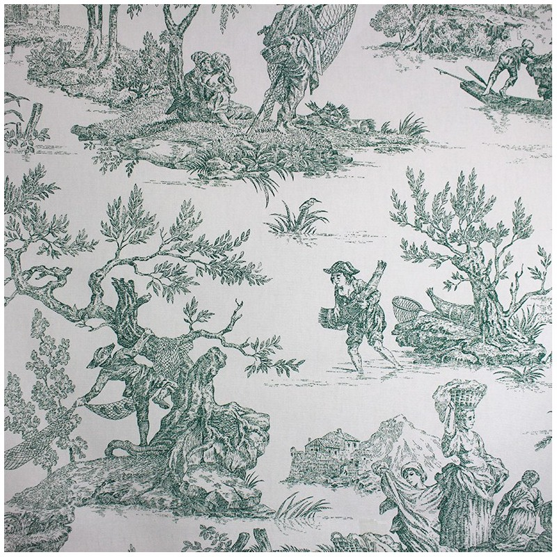 toile de jouy fabric paysanne green x 64cm ma petite mercerie. Black Bedroom Furniture Sets. Home Design Ideas