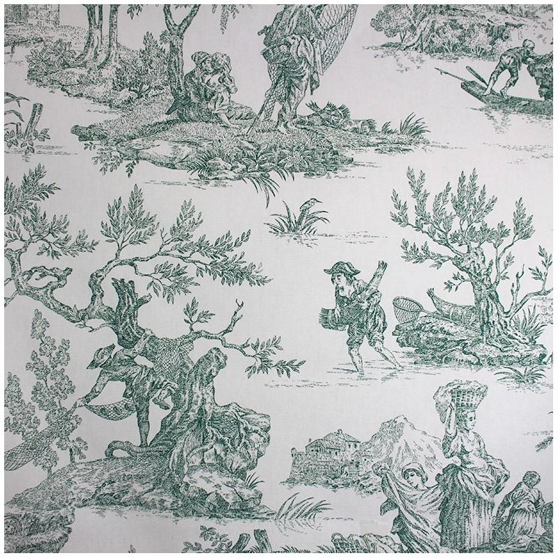 Toile de jouy fabric paysanne green x 64cm ma petite mercerie - Edredon toile de jouy ...