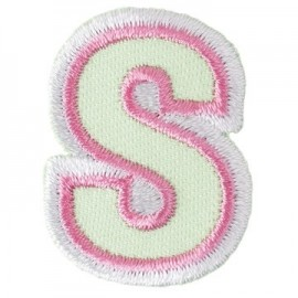 Fun embroidered Alphabet S iron-on applique - light green/pink