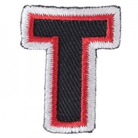 Fun embroidered Alphabet T iron-on applique - black/red