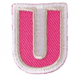 Fun embroidered Alphabet U iron-on applique - pink/white