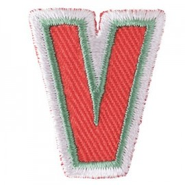 Fun embroidered Alphabet V iron-on applique - orange/green