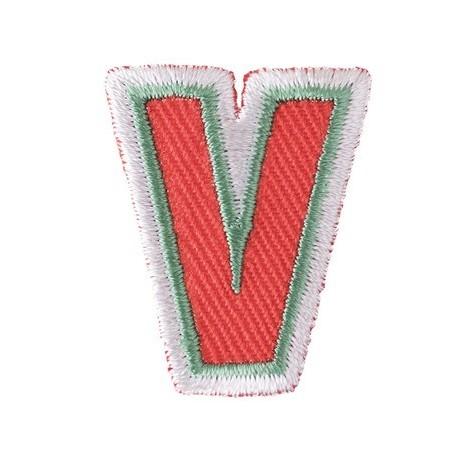 Fun embroidered Alphabet V iron-on applique - orange/green