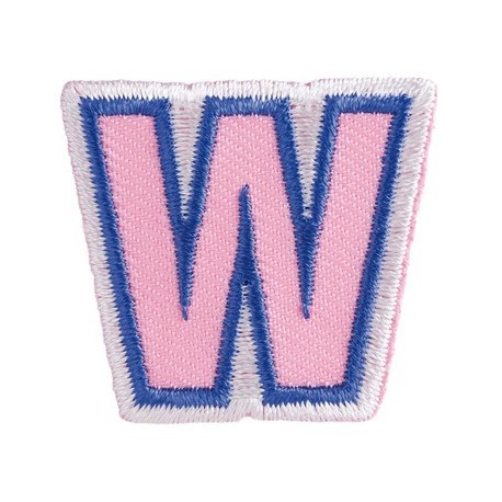 Fun embroidered Alphabet W iron-on applique - pink/blue