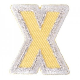 Fun embroidered Alphabet X iron-on applique - grey/yellow