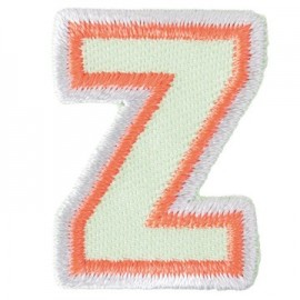 Fun embroidered Alphabet Z iron-on applique - light green/orange