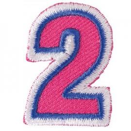 Fun embroidered figure 2 iron-on applique - fuchsia/blue
