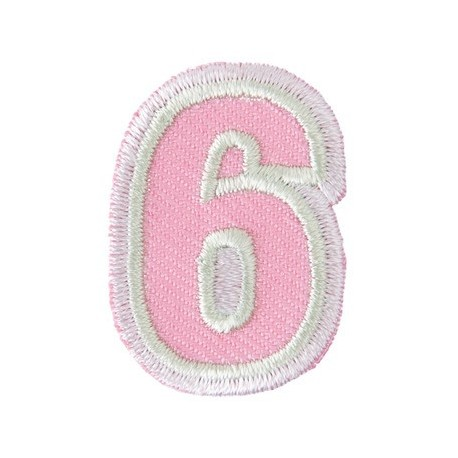 Fun embroidered figure 6 iron-on applique - pink/light green