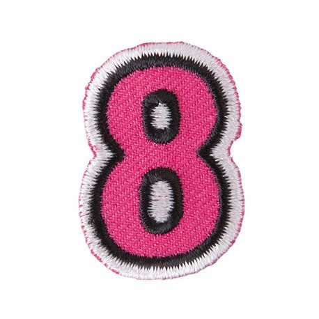 Fun embroidered figure 8 iron-on applique - fuchsia/black