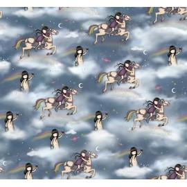 Gorjuss fabric  -  Rainbow dreams -  Girl and horse x 60 cm