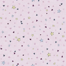Tissu Gorjuss - Rainbow dreams - Tiny stars & hearts plum x 10 cm