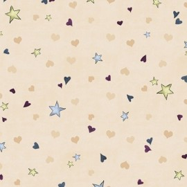 Tissu Gorjuss - Rainbow dreams - Tiny stars & hearts écru x 10 cm