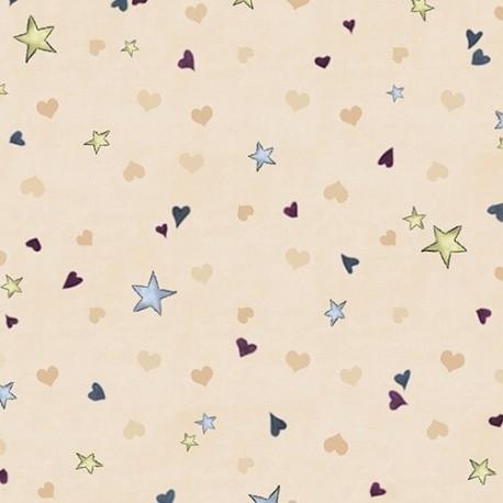 Gorjuss fabric  -  Rainbow dreams -  Tiny stars & hearts ecru x 10 cm