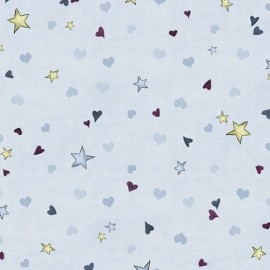 Tissu Gorjuss - Rainbow dreams - Tiny stars & hearts blue x 10 cm