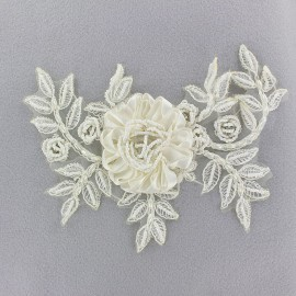 Embroidered applique flower on tulle and beads - cream