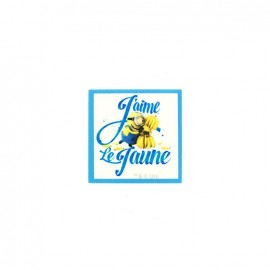"Iron on canvas patch The Minions ""J'aime le jaune"" - sky blue"