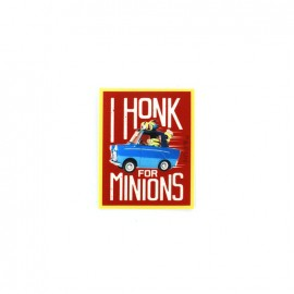 "Iron on canvas patch The Minions ""I honk for minions"" - red"