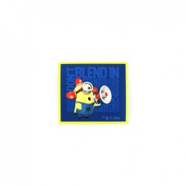 "Iron on canvas patch The Minions ""Don't blend in"" - blue"